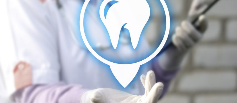 dentist holding tooth icon